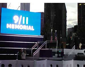 The stage where the ceremony to mark the ten year anniversary of the terror attacks in New York City was hel