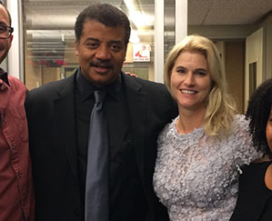 Heather Bosch and Cosmos host and scientist Neil deGrasse Tyson at CBS News headquarters in New York City 2015