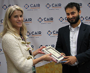 Heather Bosch in Seattle with Arsalan Bukhari, CAIR-Washington's Executive Director.