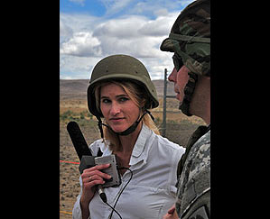 Heather Bosch in Yakima with Washington State National Guard troops training for deployment to Iraq and Afghanistan for KIRO Radio