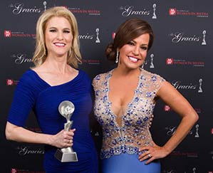 Heather Bosch with Robin Meade. Meade presented Bosch with a 2014 Gracie Award in Los Angeles