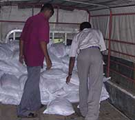 Aid workers stack bags of supplies for tsunami victims as Heather Bosch reports from Sri Lanka