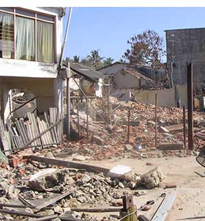 Town in Sri Lanka damaged by a tsunami in 2004