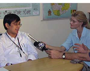 Heather Bosch interviews leadeers of World Vision in Sri Lanka after a tsunami hit in 2004